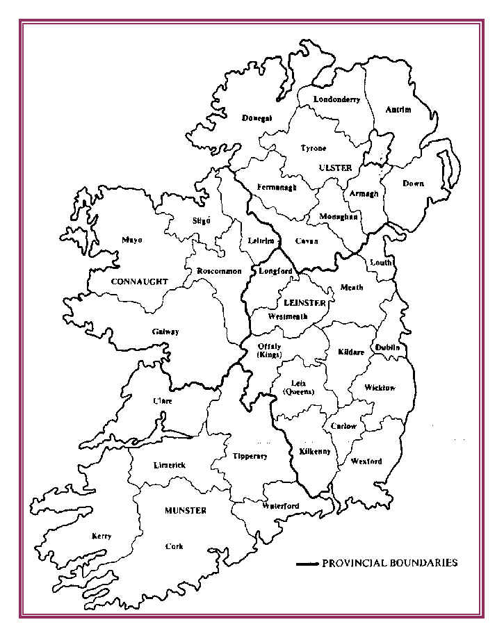 Map Of Ireland With Counties And Provinces.Map Of Old Irish Provinces